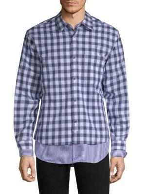 Solid Homme Layered Plaid & Striped Shirt In Blue Check