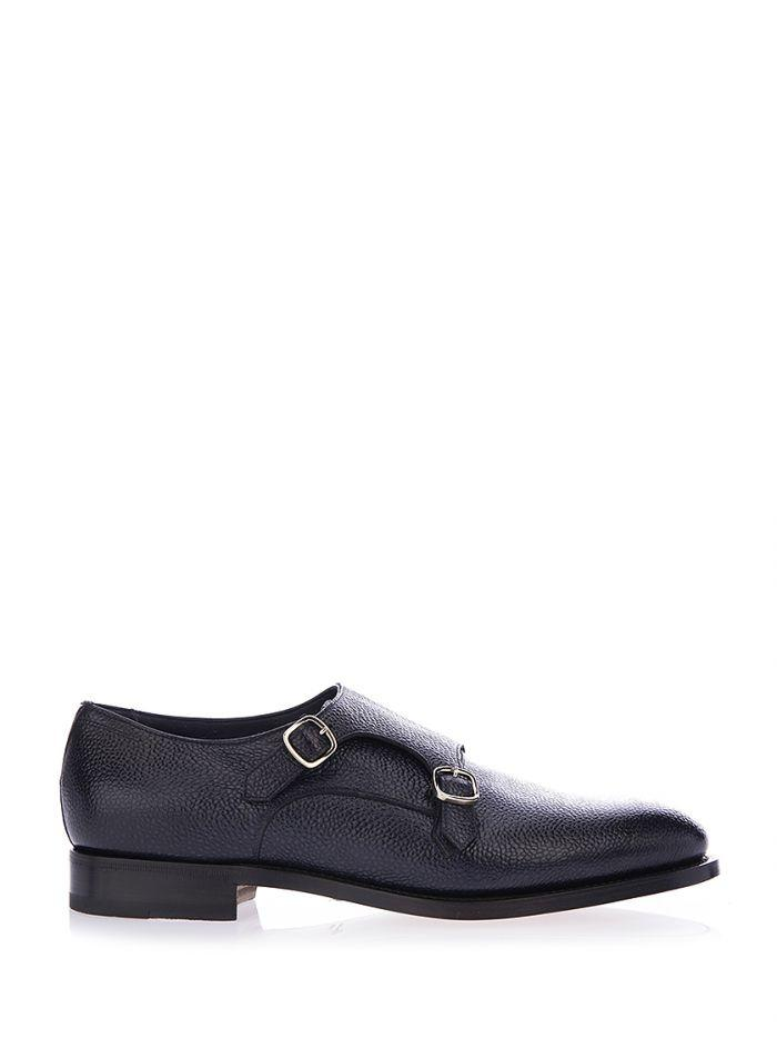 Santoni Grained Leather Monkstrap Shoes In Black