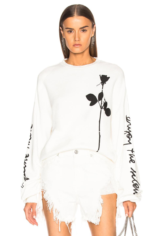 R13 Enjoy The Silence Script Sweatshirt In White