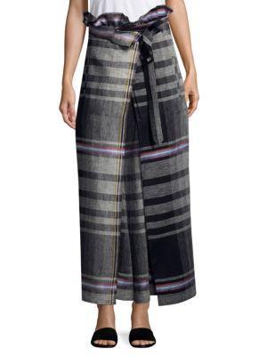 Weekend Max Mara Arthur Linen Wrap Skirt In Black