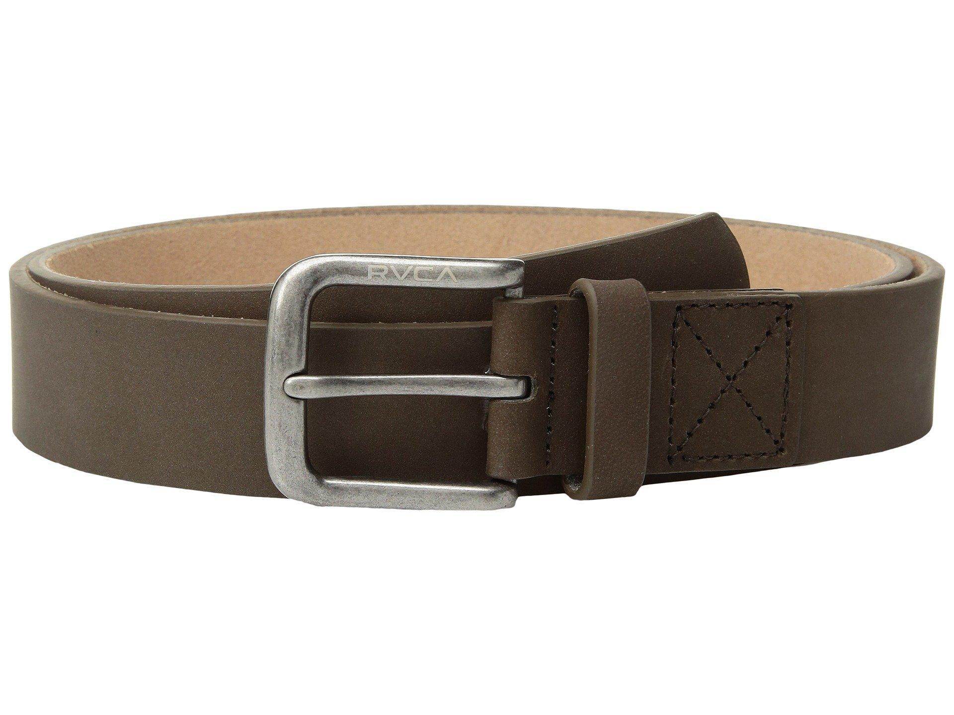 Rvca Bundy Leather Belt, Dark Brown
