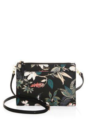 Kate Spade Cameron Street Botanical Clarise Leather Bag In Black Multi