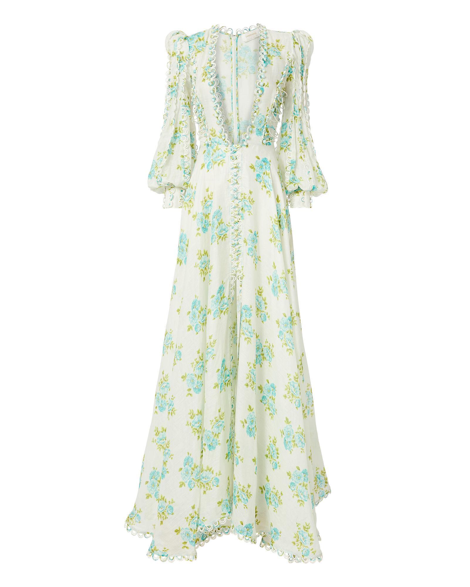 82caf4a1990f Zimmermann Whitewave Honeymooners Floral-Print Linen Maxi Dress In Green  Print