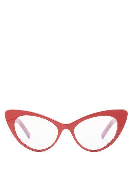 Saint Laurent - Lily Cat Eye Frame Acetate Glasses - Womens - Red