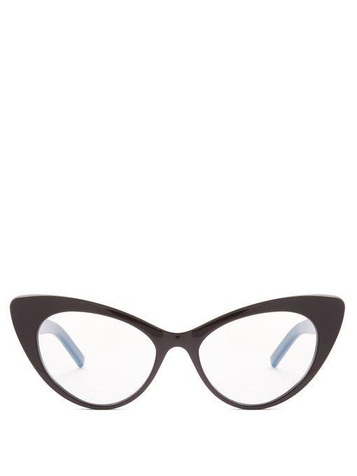 Saint Laurent Monogram Cat-Eye Frame Glasses In Black