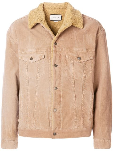 Gucci Embroidered Corduroy Jacket In Neutrals