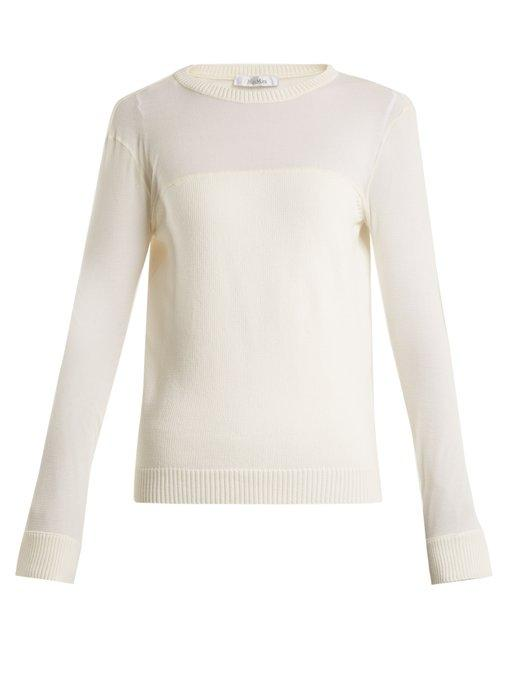 Max Mara Cantore Cotton-blend Sweater In White