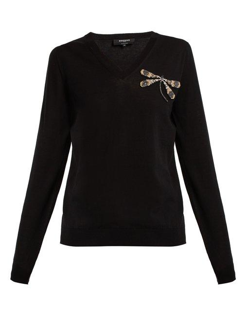 Rochas Dragonfly-embellishment Fine-knit Cotton Sweater In Black