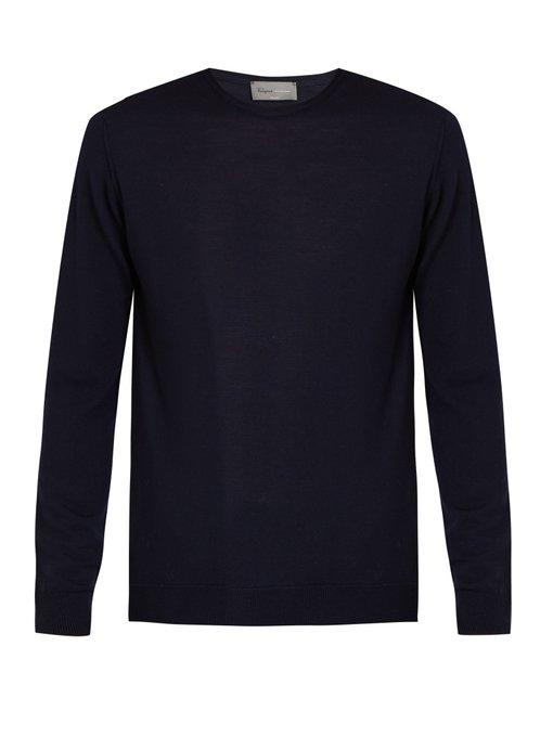 Kilgour - Crew Neck Merino Wool Sweater - Mens - Navy