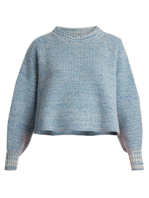 Vika Gazinskaya Cropped Wool Sweater In Blue