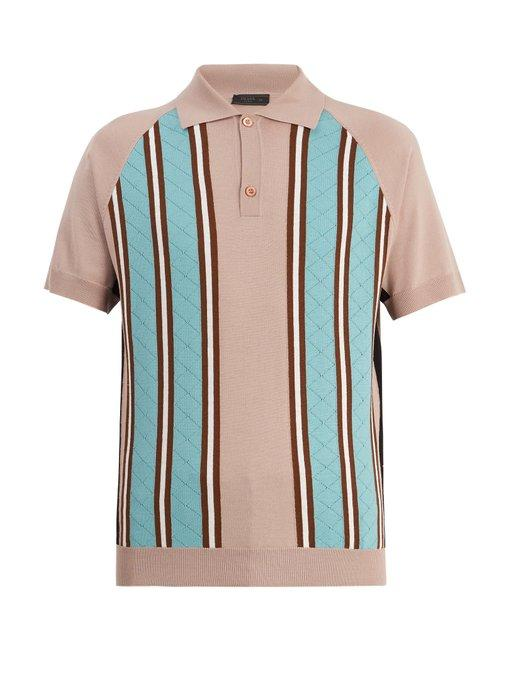 Prada Point-collar Striped-knit Wool Polo Shirt In Mauve-pink