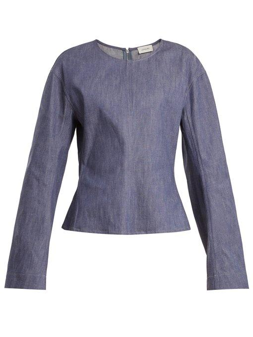 Lemaire Long-sleeved Denim Top In Blue