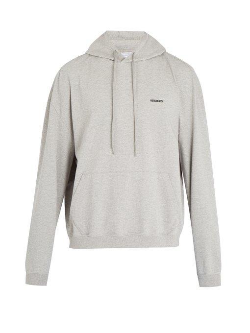 Vetements Logo-embroidered Cotton Hooded Sweatshirt In Grey