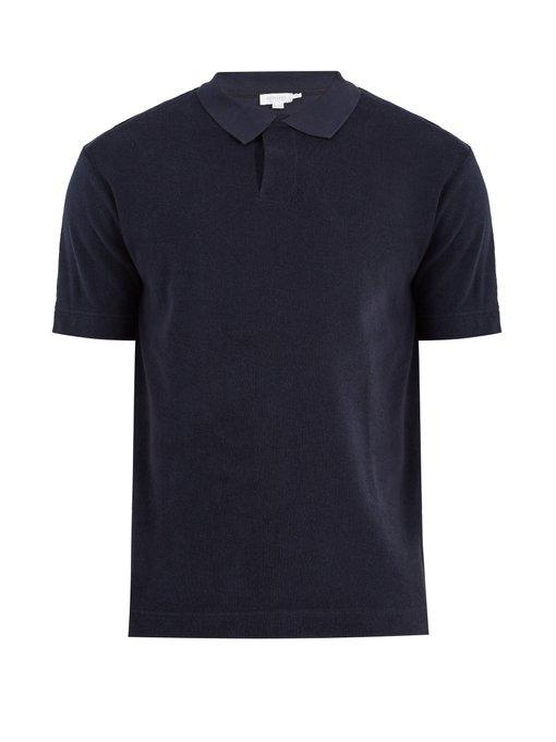 Sunspel Terry-towelling Cotton Polo Shirt In Navy