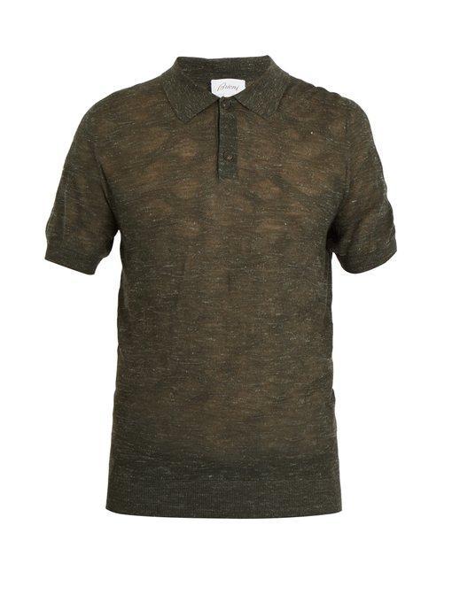 Brioni - Point Collar Wool Blend Knit Polo Shirt - Mens - Green