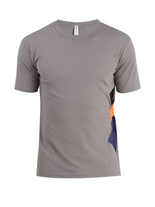 Adidas By Kolor Climachill Fabric-appliquÉ T-shirt In Grey Multi