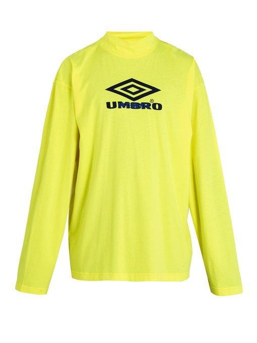 Vetements + Umbro Oversized Printed Cotton-jersey Mock-neck T-shirt In Yellow