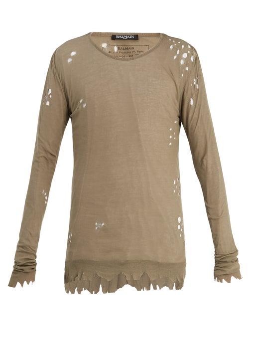 Balmain Distressed Ribbed-knit Jersey Sweater In Khaki