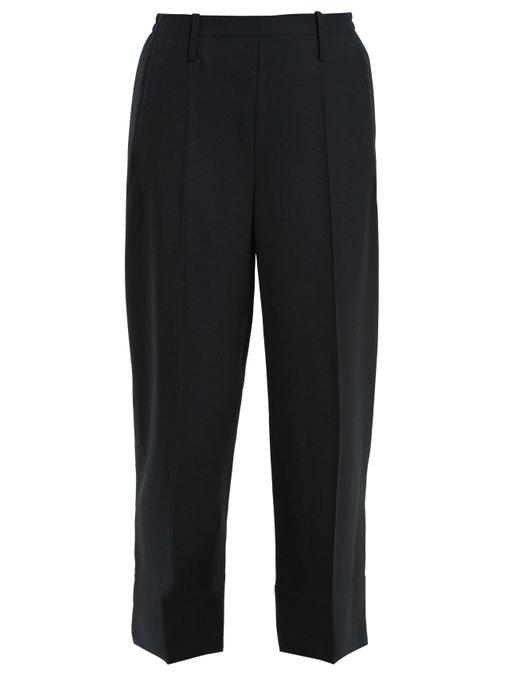 Lemaire Wide-Leg Wool-Gabardine Trousers In Navy