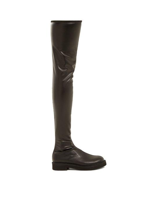 Junya Watanabe Faux-leather Knee-high Boots In Black