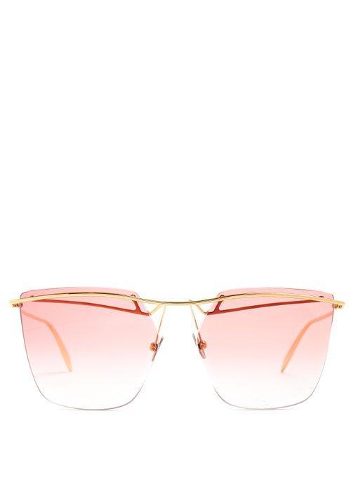 Alexander Mcqueen Angular-frame Rimless Aviator Sunglasses In Pink