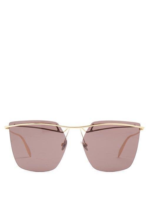 Alexander Mcqueen - Rimless Aviator Sunglasses - Womens - Grey
