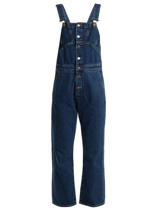 M.i.h Jeans Tribe Button-down Denim Dungarees In Dark Blue