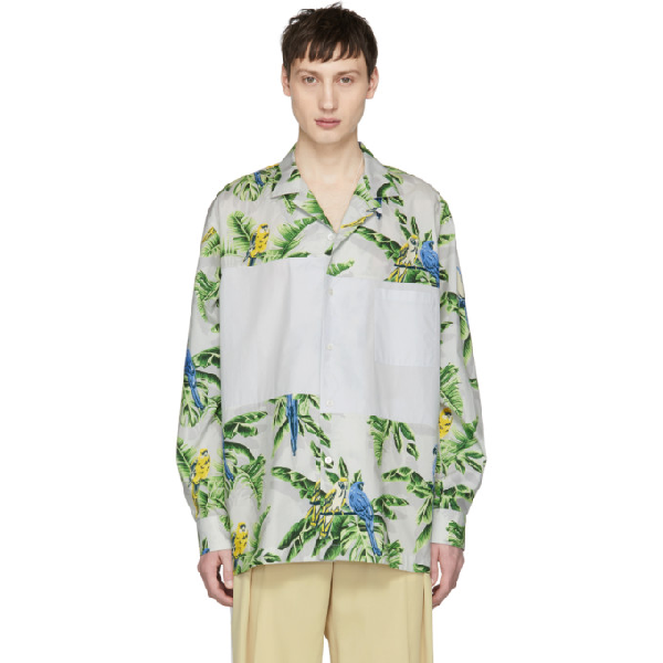 Stella Mccartney Paradise Print Panel Shirt In Grey In 1830 Min Mi