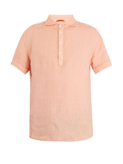 Barena Venezia - Point Collar Short Sleeved Linen Polo Shirt - Mens - Pink