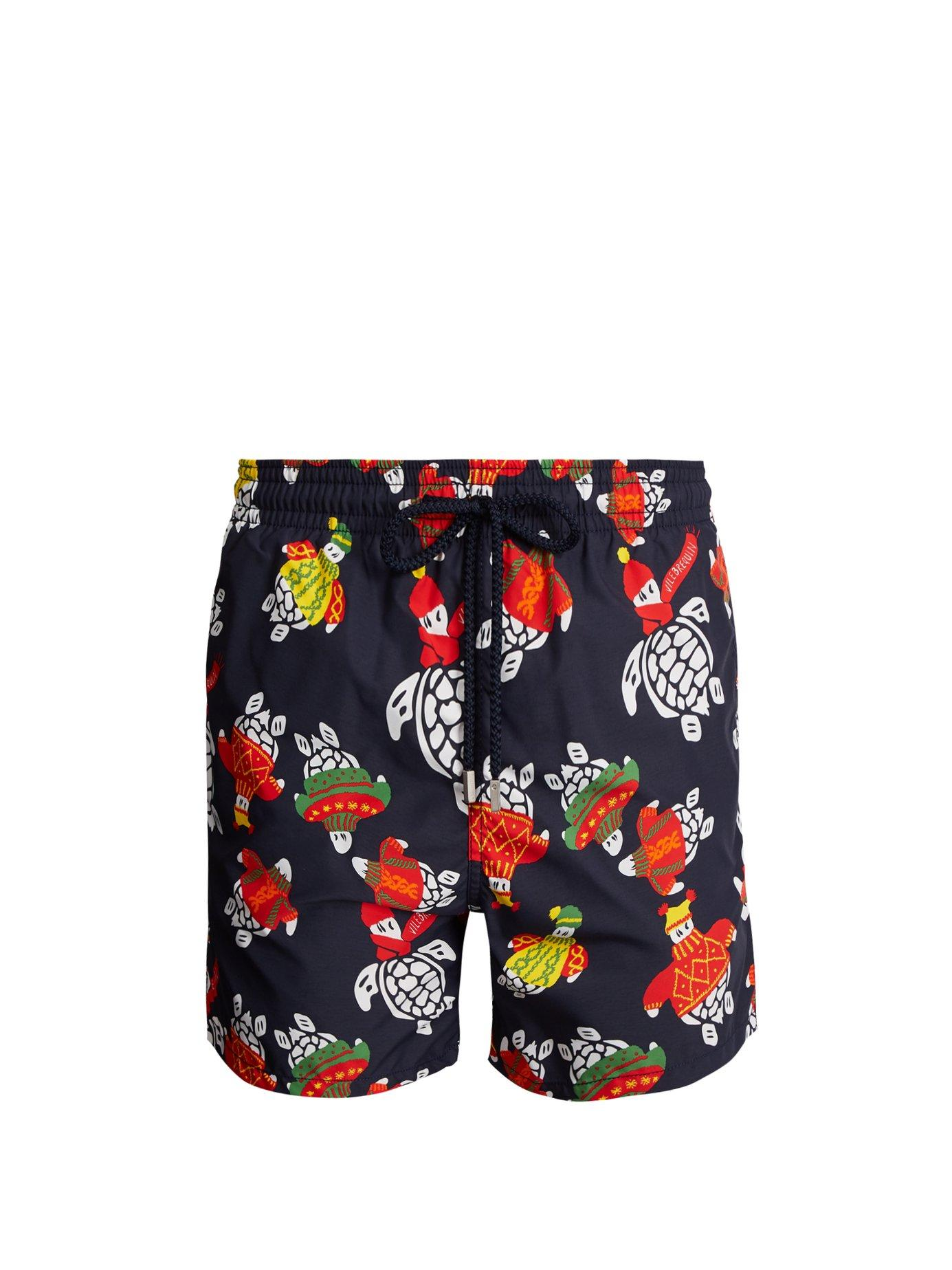 Vilebrequin Moorea Sweater Turtles-print Swim Shorts In Blue Multi