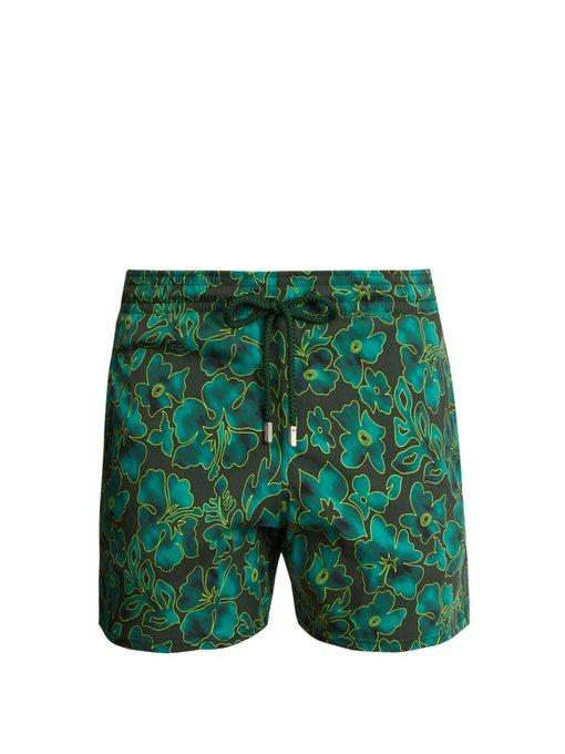 Vilebrequin Moorise Natural Flowers-print Swim Shorts In Green