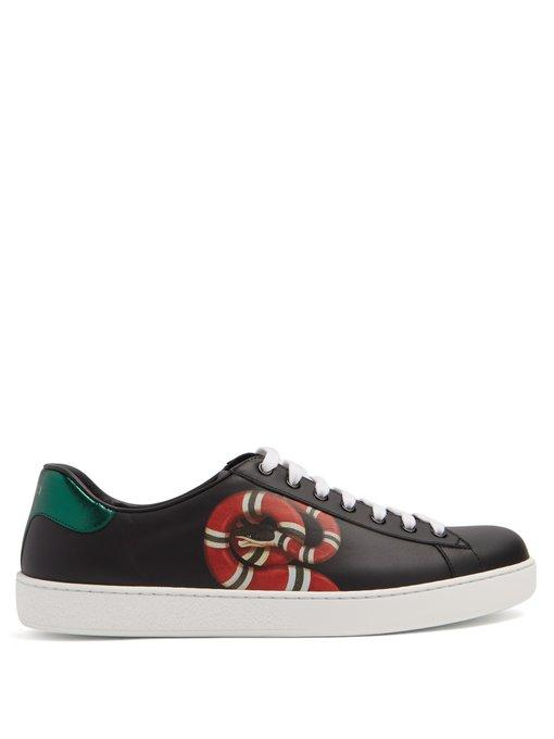 be6e34ba96f Gucci - New Ace Low Top Leather Trainers - Mens - Black Multi