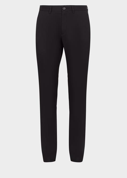 Versace Cotton Gabardine Trousers In Black