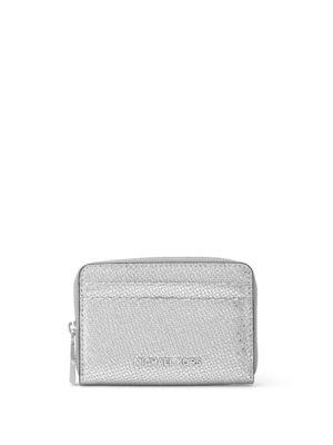 Michael Michael Kors Metallic Leather Card Case In Silver