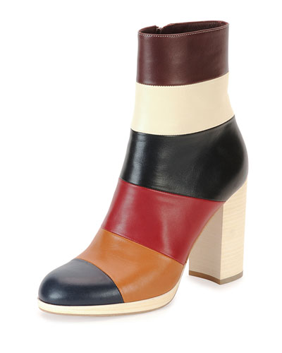 Valentino Colorblock Leather Ankle Boot, Multi In Multi Colors