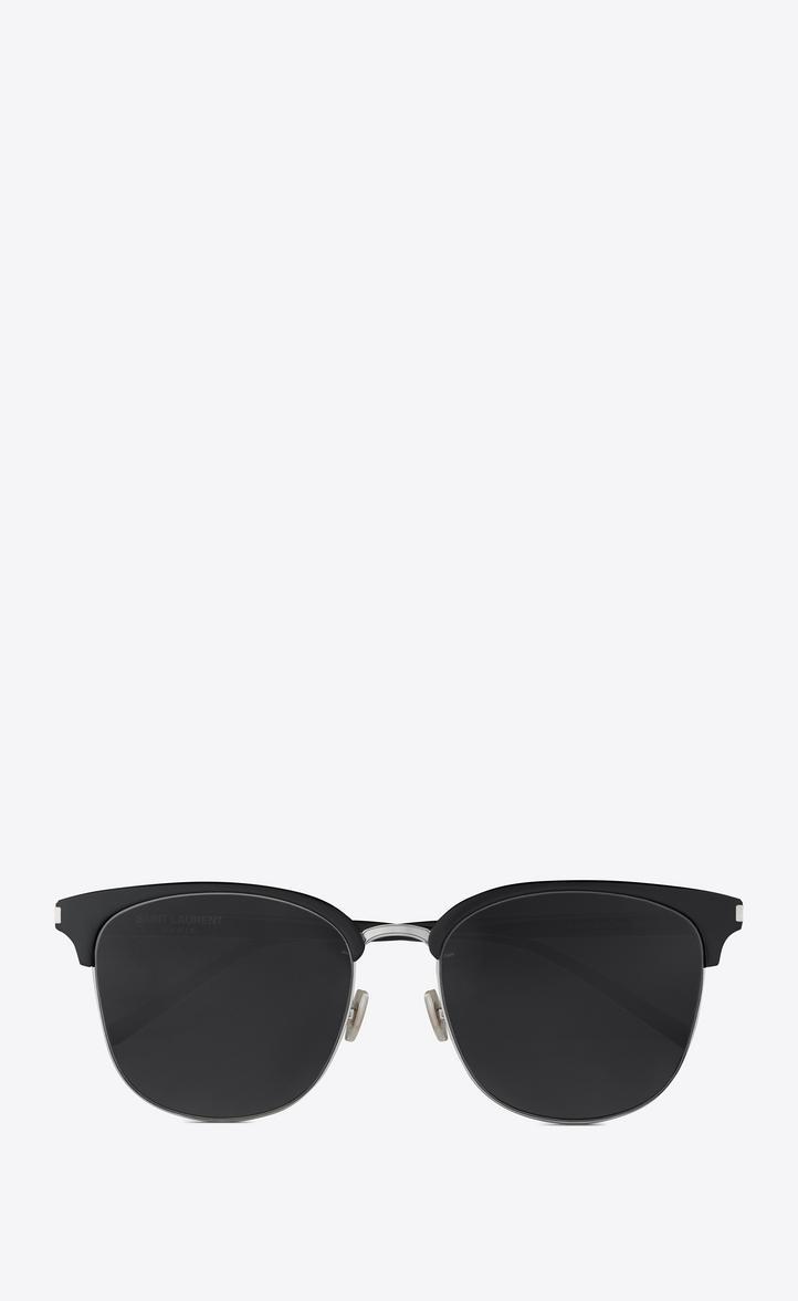 Saint Laurent Classic 201/k Sunglasses In Silver And Dark Havana