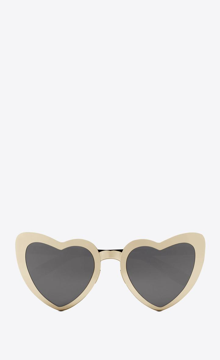 Saint Laurent New Wave 196 Loulou Sunglasses In Golden-colored Metal, Black Acetate And Gray Lenses