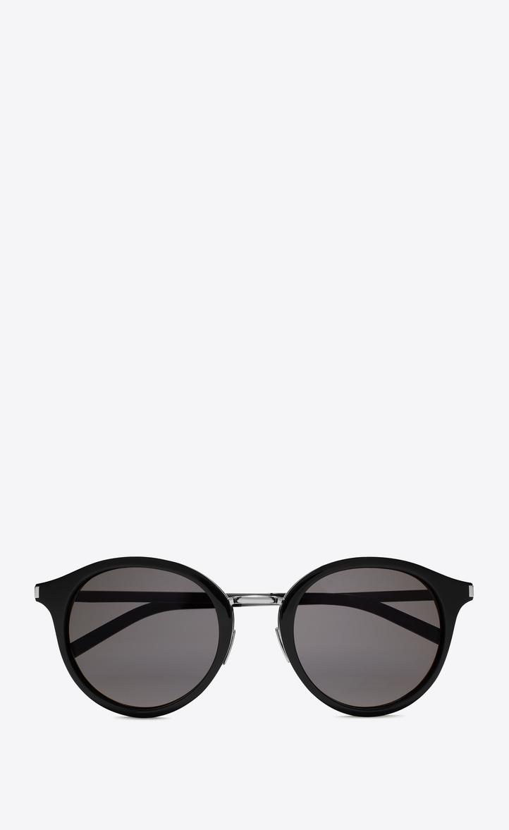 Saint Laurent Classic 57 Sunglasses In Shiny Black Acetate And Shiny Silver Steel With Smoke Lenses