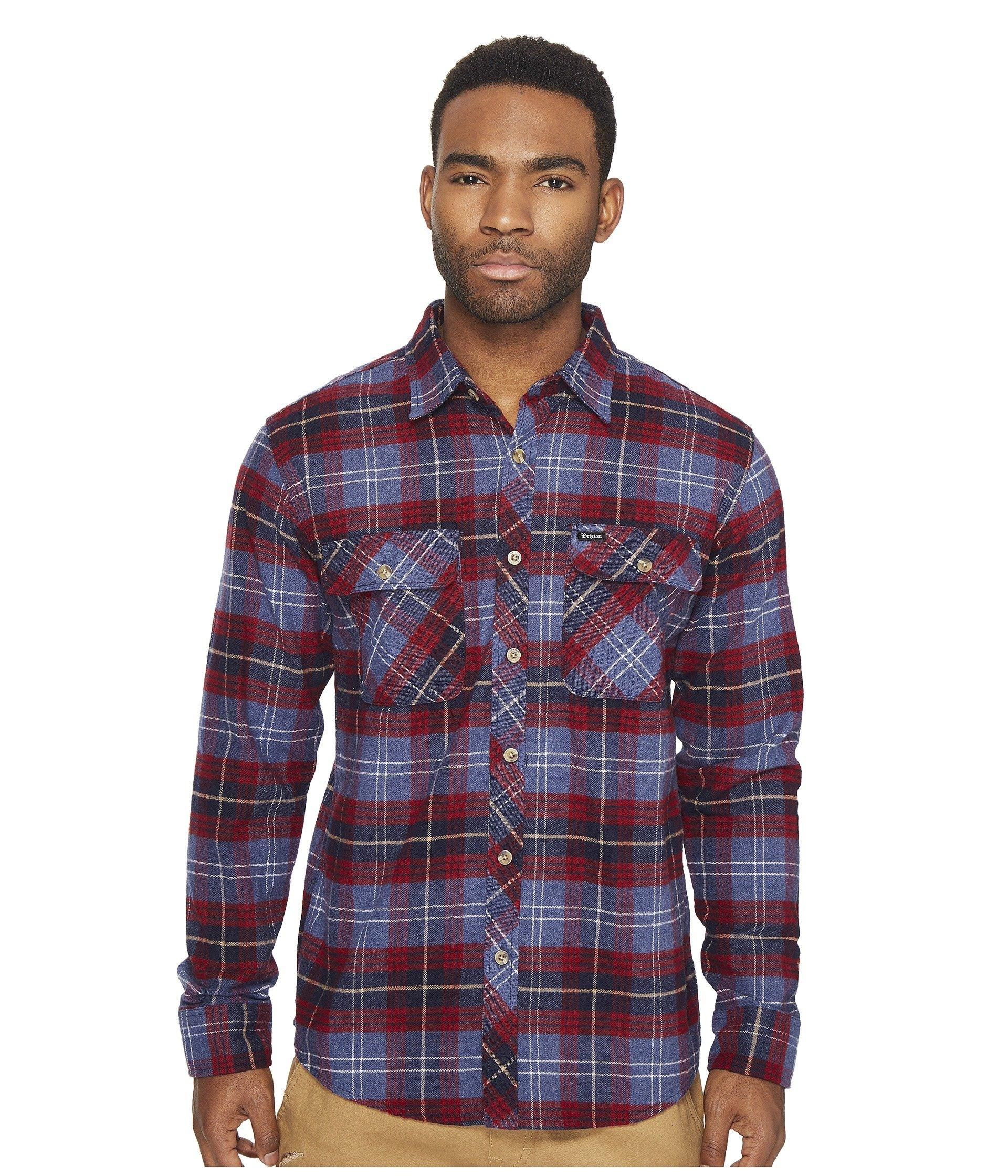 Brixton Bowery Long Sleeve Flannel In Navy Plaid