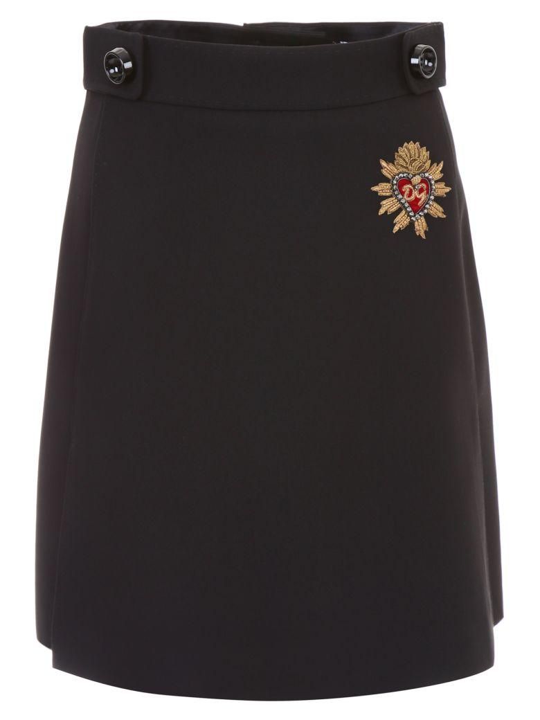 Dolce & Gabbana Skirt With Patch In Neronero