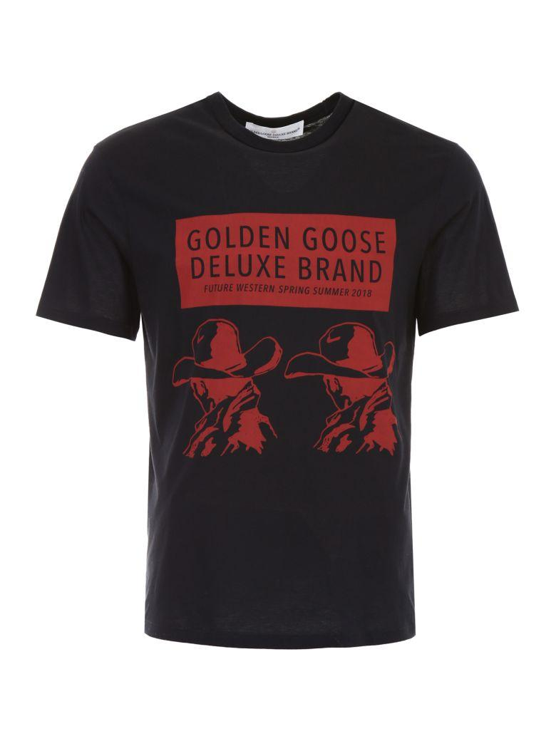 Golden Goose Western Black Cotton T-shirt In Blacknero