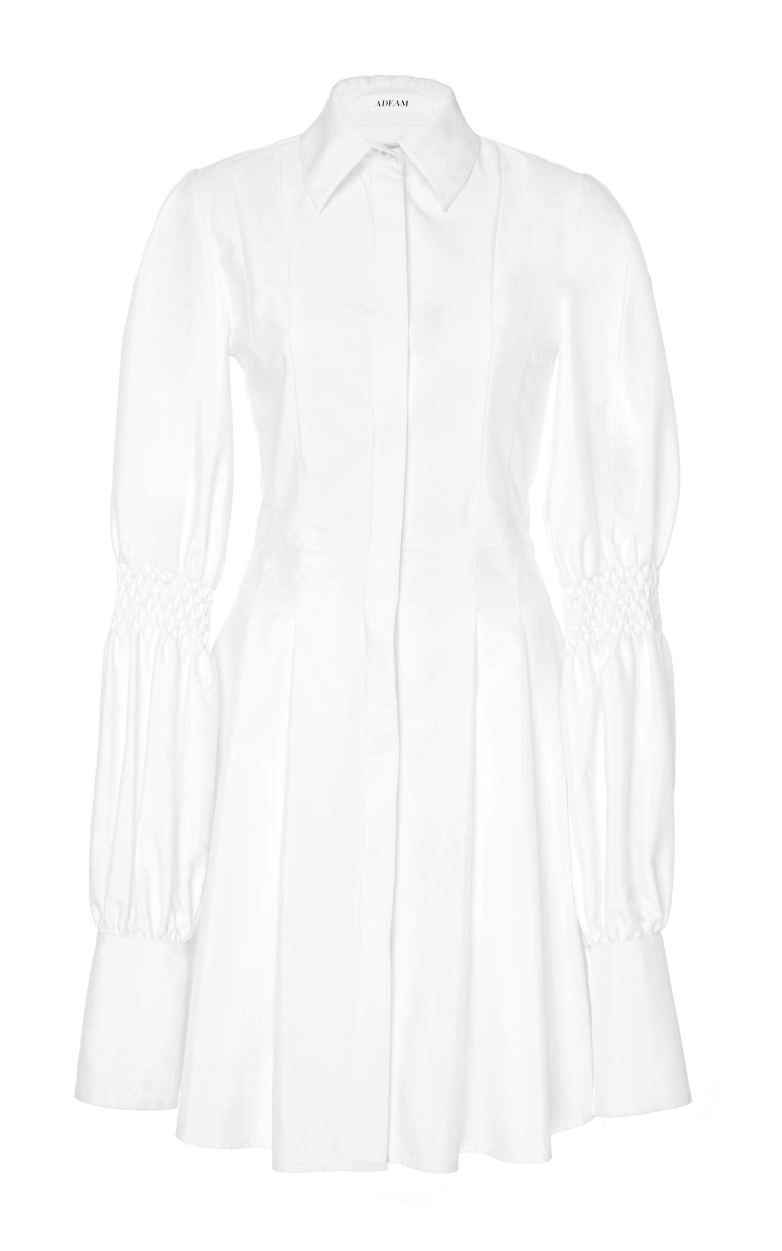 Adeam Pleated Shirt Dress With Smocking Detail In White
