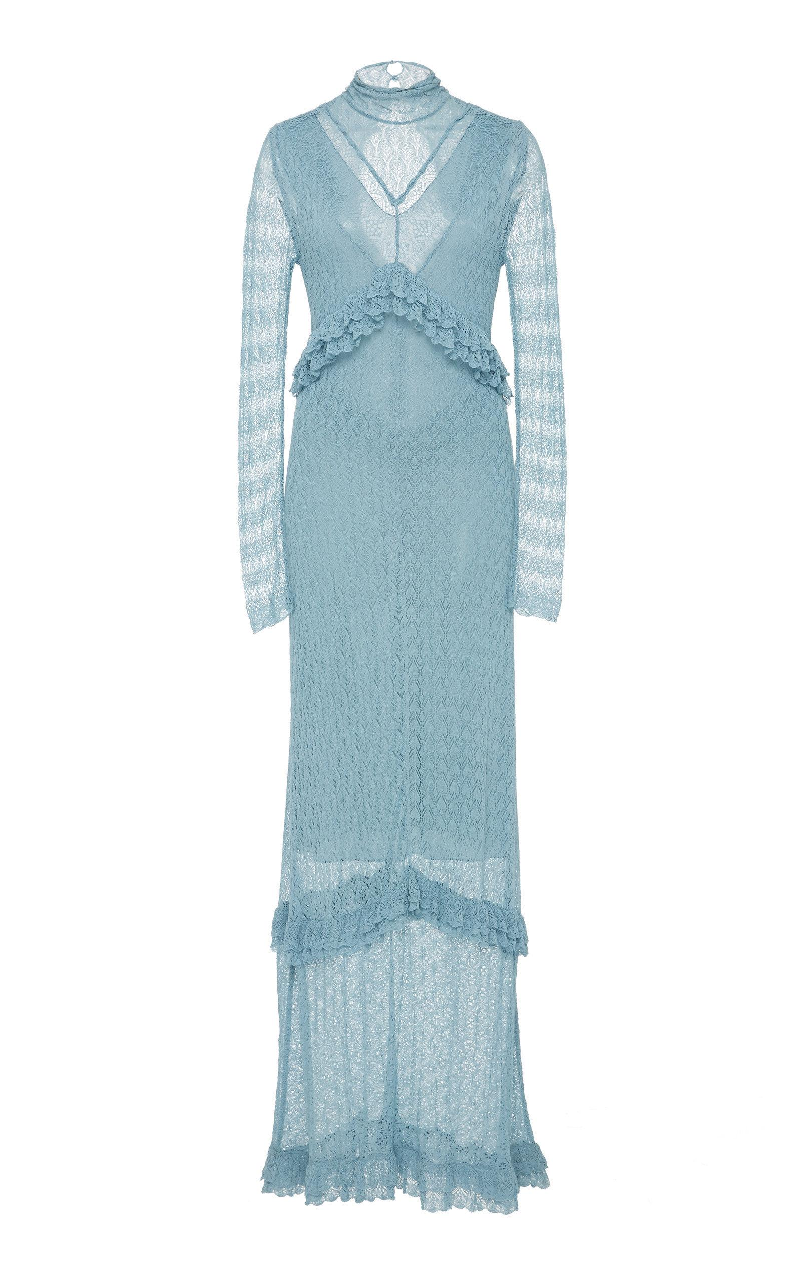 Alexa Chung Alexachung Patchwork Fine Knit Lace Dress In Blue