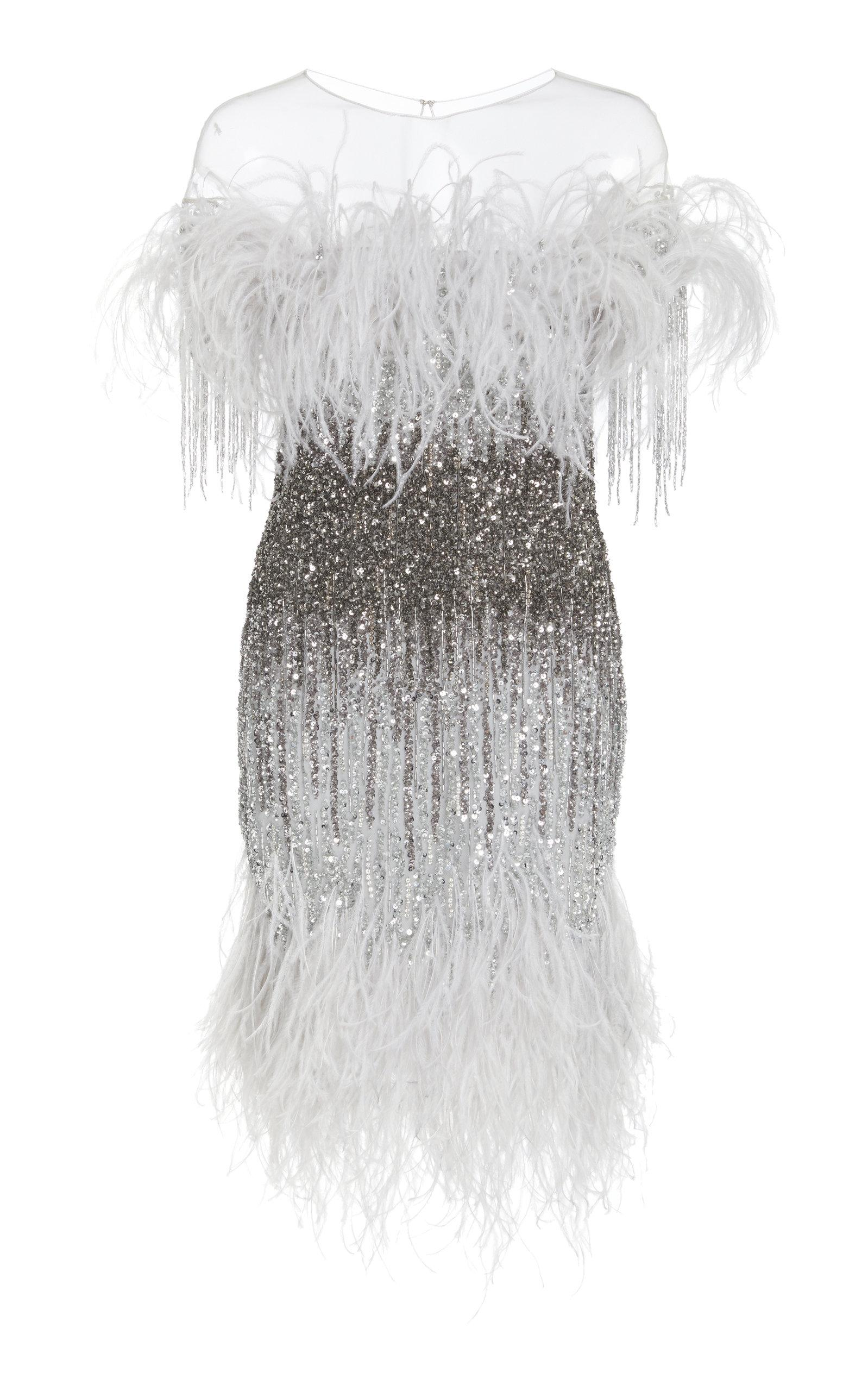 Pamella Roland Sequin Embroidered Cocktail Dress In Silver