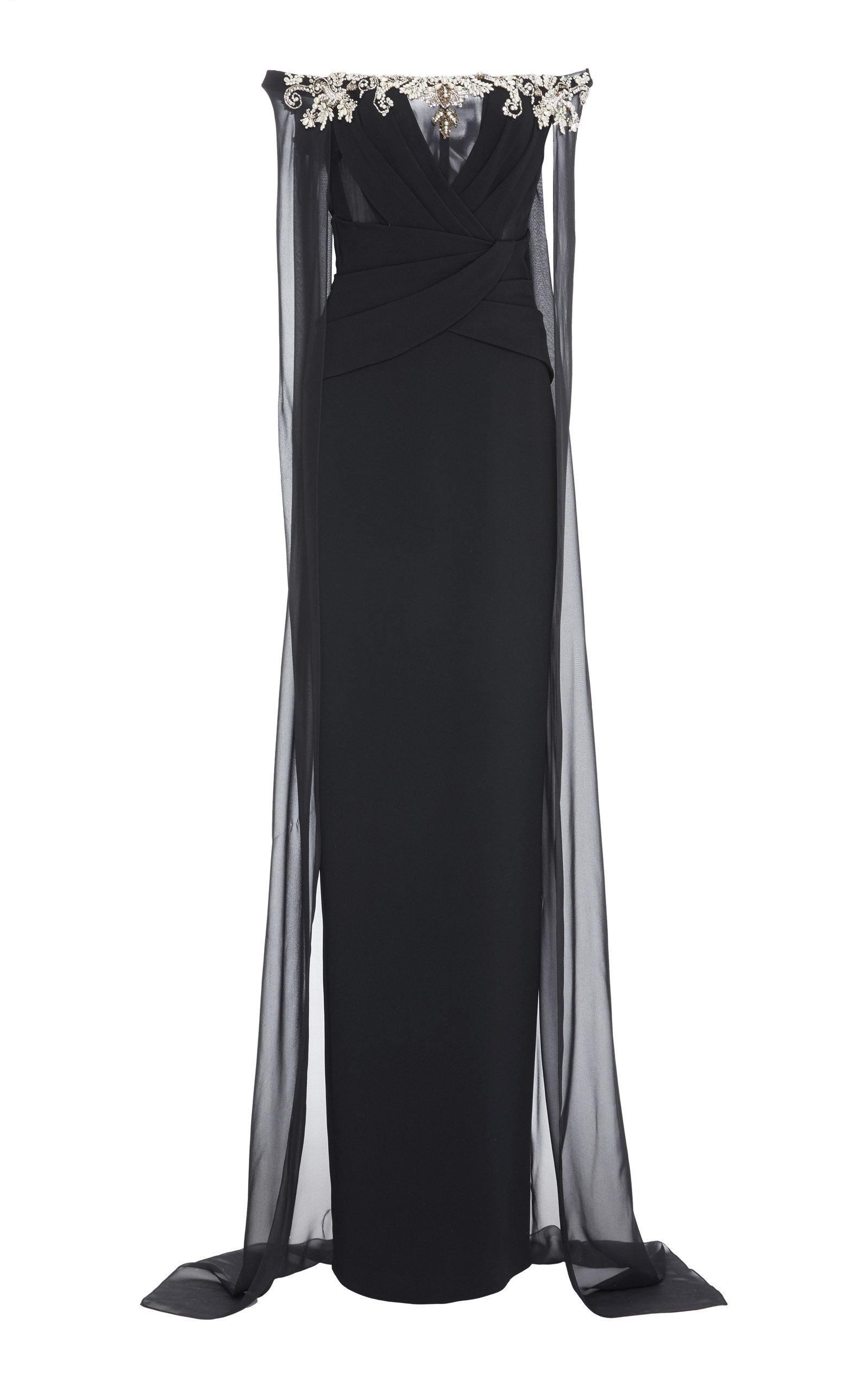Pamella Roland Crepe And Chiffon Caped Gown In Black