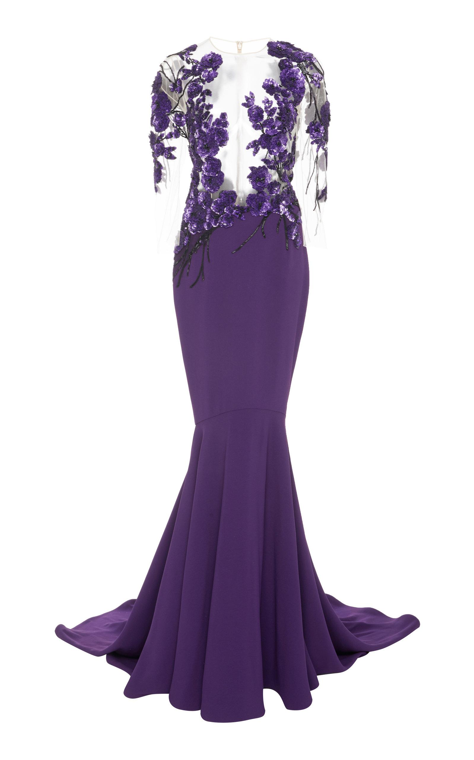 Pamella Roland Sequin Embroidered Crepe Gown In Purple