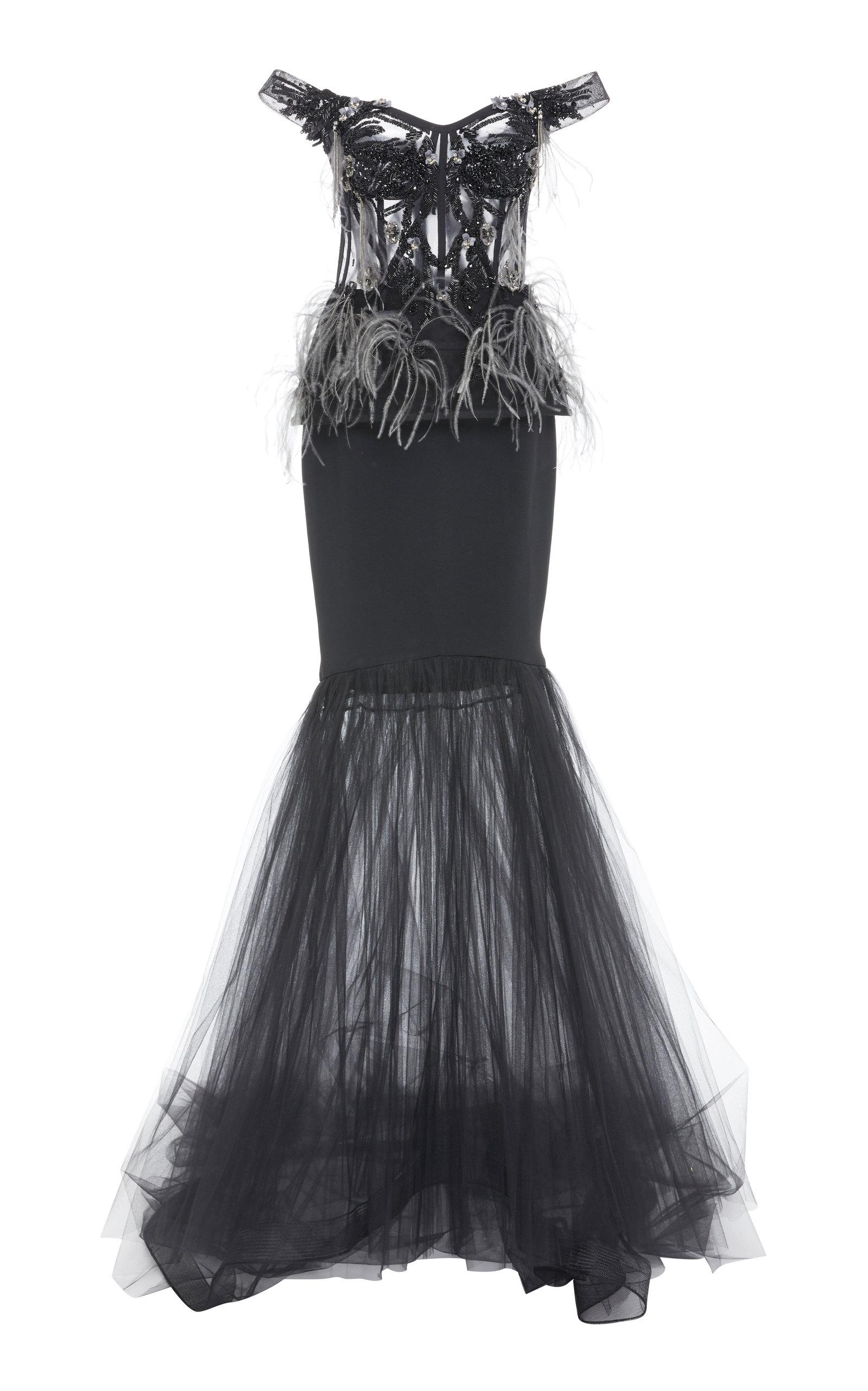 Pamella Roland Tulle And Crepe Embellished Gown In Black