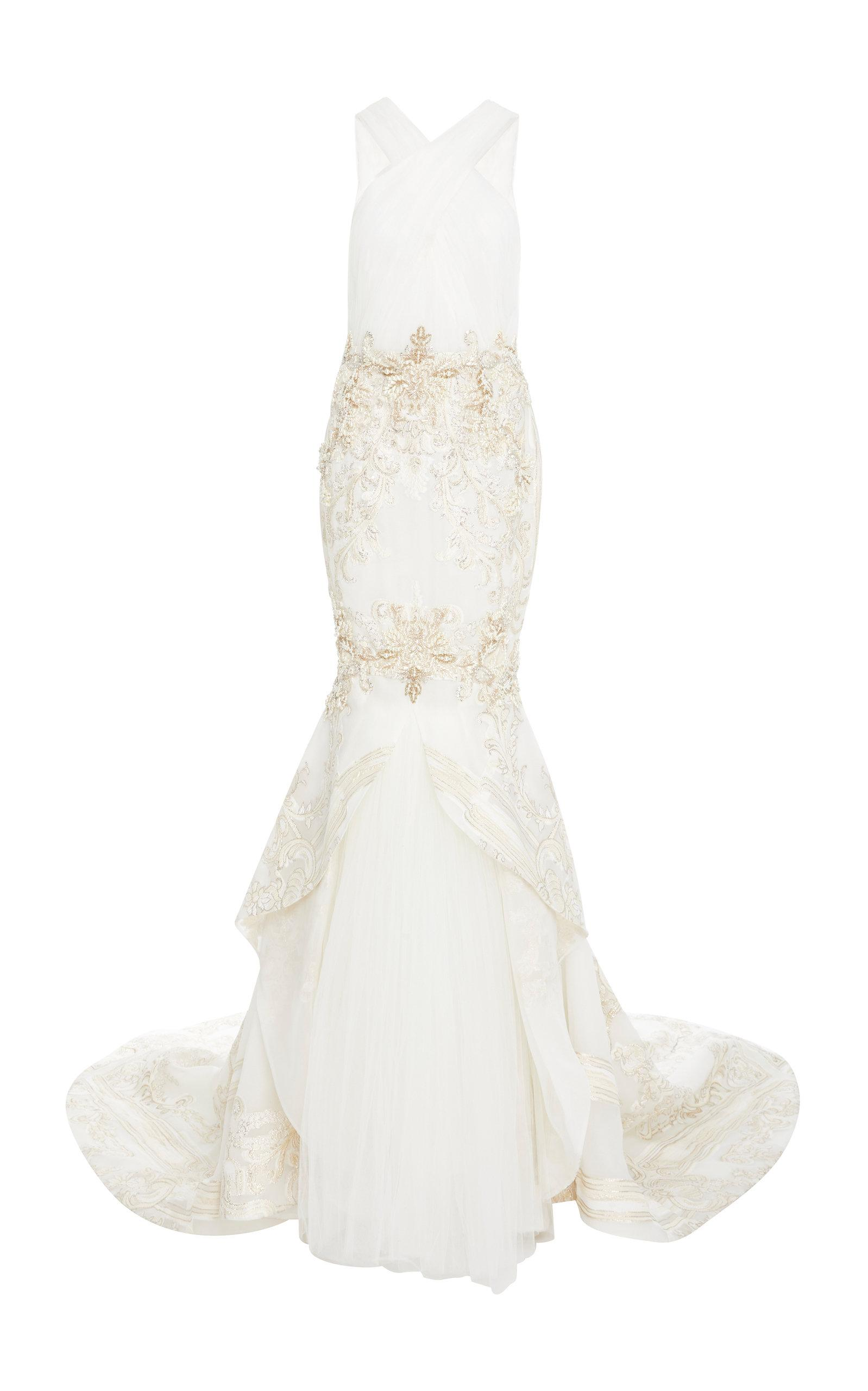 Pamella Roland Baroque Gate Fil-coupe Gown In White