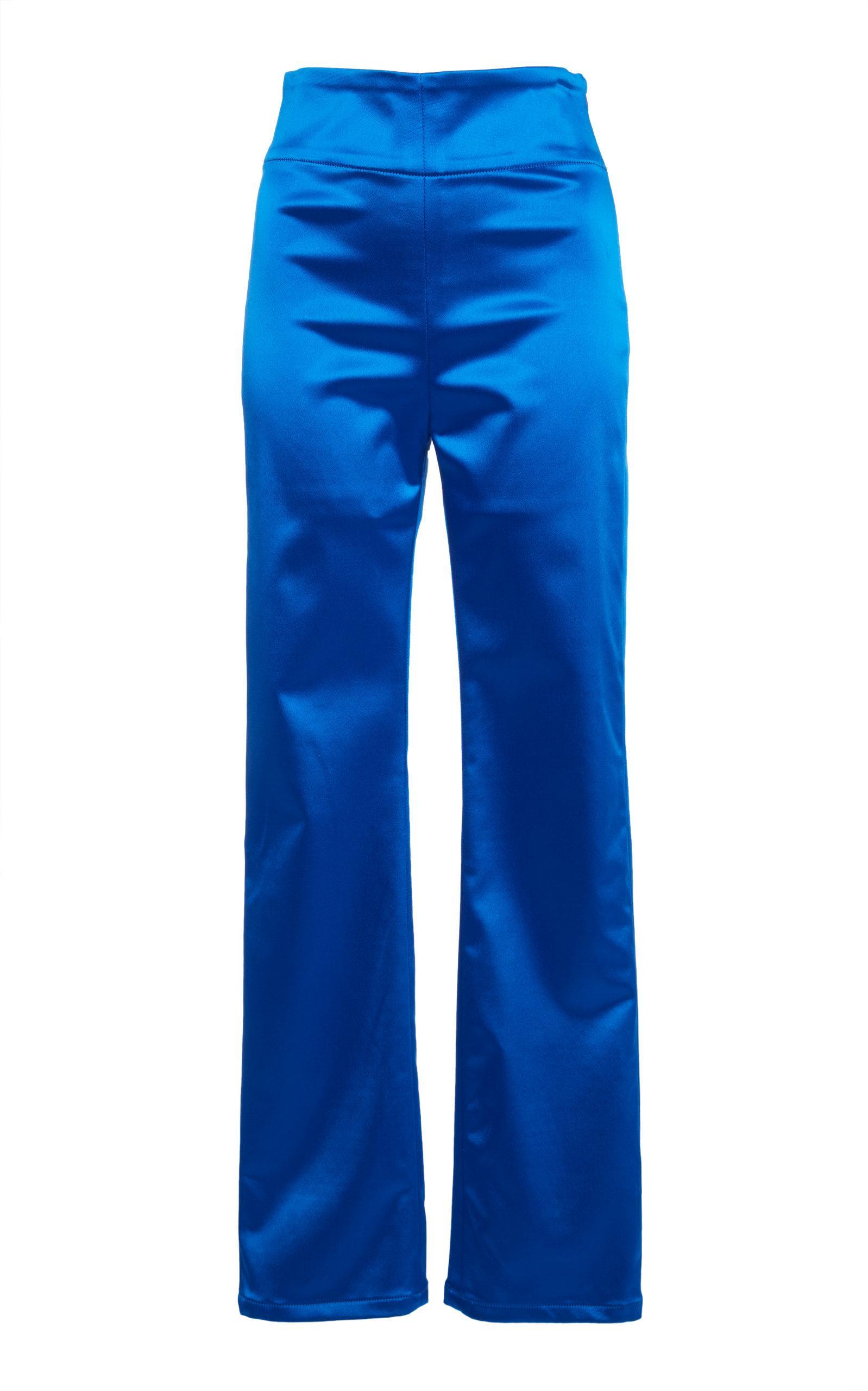 Adam Selman Satin Sandy Pant In Blue
