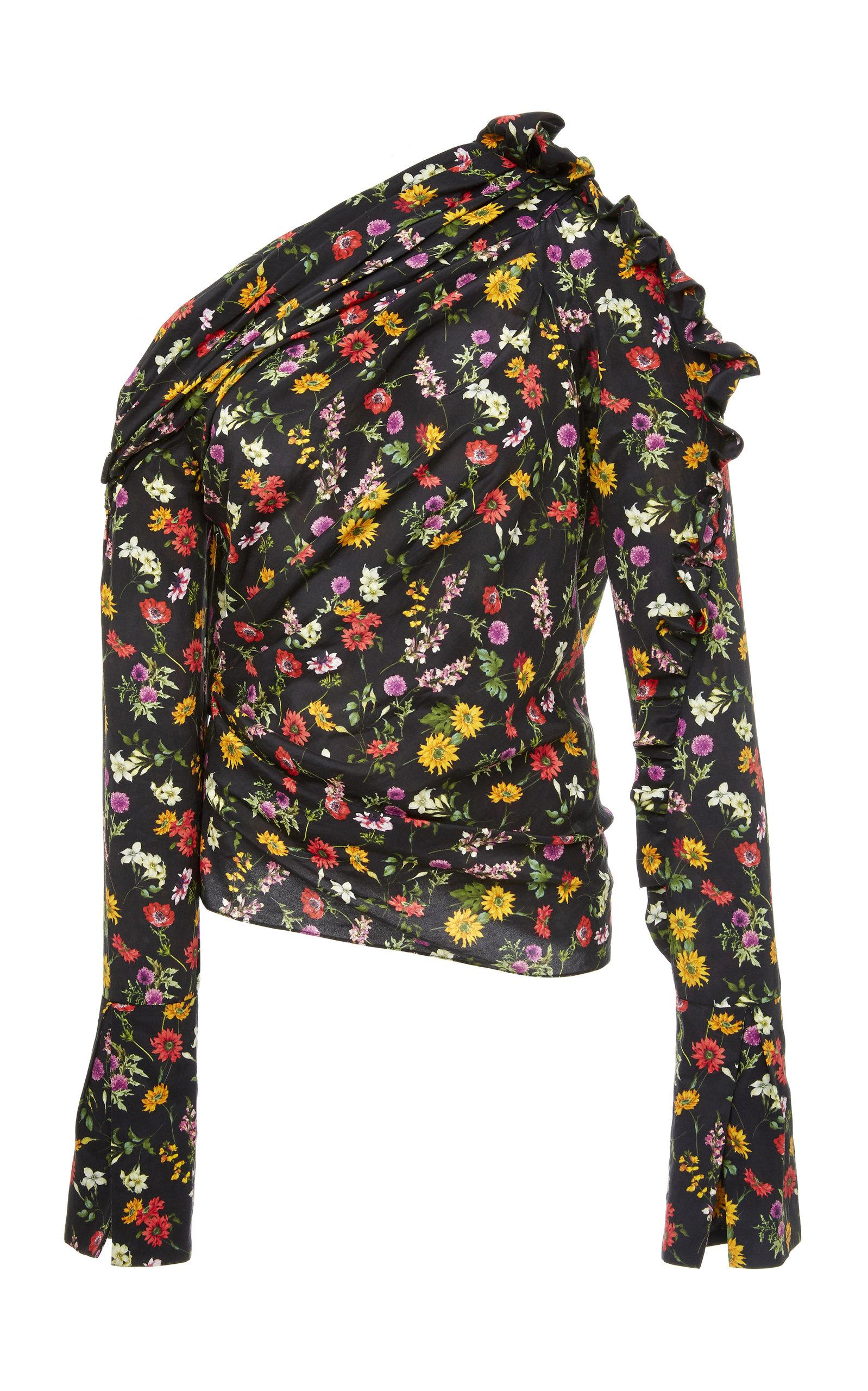 Hellessy Belle Assymetric Blouse In Floral